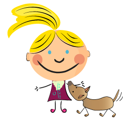 Cartoon of Lisa with her Chihuahua