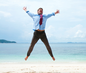 Employee excited for vacation